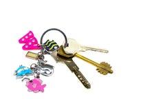 Chaves com um keychainof isolado no fundo branco Imagens de Stock Royalty Free