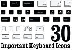 Chaves da placa chave de computador e botões do Mac e das janelas no vetor Fotos de Stock Royalty Free