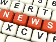 Chaves de computador da notícia que mostram meios e informação Imagens de Stock