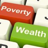 Chaves de computador da pobreza e da riqueza que mostram Rich Versus Poor fotos de stock