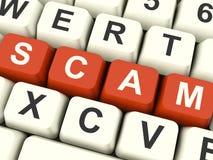 Chaves de computador de Scam que mostram fraudes e fraude fotografia de stock