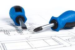 Chaves de fenda em um desenho Imagem de Stock