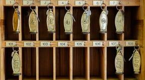 Chaves de salas do hotel na recepção Imagem de Stock Royalty Free