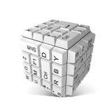 Chaves de teclado aleatórias que formam um cubo Fotografia de Stock Royalty Free