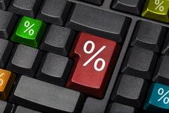 Chaves de teclado dos sinais de por cento Fotos de Stock
