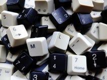 Chaves de teclado preto e branco do computador, na maior parte numéricas com os botões da aprendizagem de máquina do ML na parte  imagens de stock royalty free