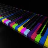 Chaves do piano do arco-íris da ilustração frontal do rendrer da opinião 3d do fim do dispositivo da música Foto de Stock