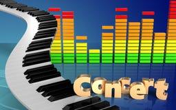 chaves do piano do sinal do concerto 3d Imagens de Stock