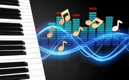 chaves do piano do espectro 3d ilustração stock