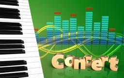 chaves do piano do sinal do concerto 3d Imagem de Stock