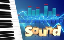 chaves do piano do sinal 'do som 3d' ilustração royalty free
