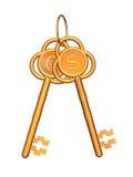 Chaves douradas com euro e dólar Imagem de Stock