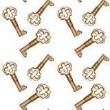 Chaves douradas sem emenda em um fundo branco Imagens de Stock Royalty Free