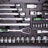 Chaves e chaves de fenda na caixa de ferramentas Fotografia de Stock Royalty Free