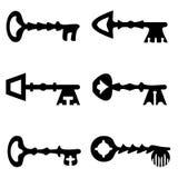 Chaves e manusckript Silhuetas das chaves do vintage ajustadas ilustração stock
