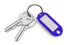 Chaves e porta-chaves azul Foto de Stock Royalty Free