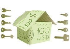 Chaves e vetor da casa do dólar ilustração stock