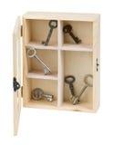 Chaves na caixa de madeira foto de stock