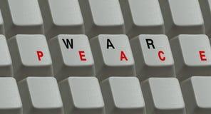 Chaves no teclado e a guerra e a paz da palavra Fotos de Stock Royalty Free