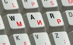 Chaves no teclado e a guerra e a paz da palavra Foto de Stock Royalty Free