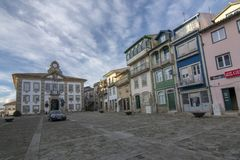 Colorful houses at the central square of Chaves, Portugal. Chaves, Portugal; December 2015: Colorful houses at the central square of Chaves, Portugal stock image