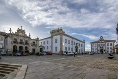Town hall on the central square in Chaves, Portugal. Chaves, Portugal; December 2015: Panorama of the central square of Chaves, Portugal stock photography