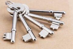 Chaves velhas do metal da prata-cor com a porta-chaves na placa de madeira Imagem de Stock