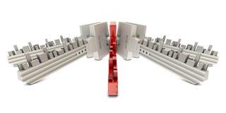 Chaves vermelhas e brancas com edifícios Fotografia de Stock Royalty Free