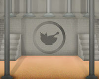 Chawan lub herbata pyskujemy symbol na starej szarości ścianie i filary na stronie Obraz Stock