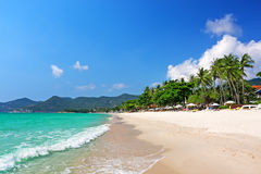 Chaweng海滩,酸值苏梅岛泰国看法  库存照片