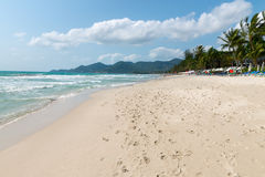 Chaweng sand beach on Samui island, Thailand. Empty beach with a lot of footprints in the sand Royalty Free Stock Images