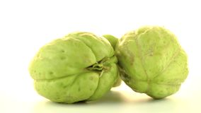 Chayote. Also known as chow chow and Chu Chu rotating on white background stock video