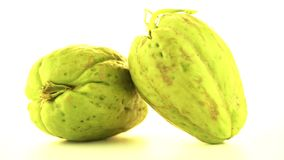 Chayote. Also known as chow chow and Chu Chu rotating on white background stock video footage
