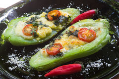 Chayote Stuffed  with cheese Stock Image