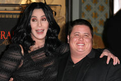Chaz Bono,Cher. Cher and Chaz Bono at Cher's Hand and Footprint Ceremony, Grauman's Chinese Theatre, Hollywood, CA. 11-18-10 royalty free stock images