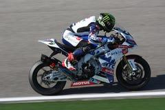 Chaz Davies - Aprilia RSV4 - MTC ParkinGO het Rennen Stock Afbeeldingen