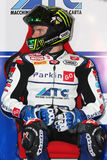 Chaz Davies - Aprilia RSV4 - ParkinGO MTC Racing. Chaz Davies rider  Aprilia RSV4 ParkinGO MTC Racing Team in the world Superbike Championship SBK Royalty Free Stock Photography