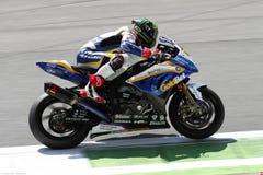 Chaz Davies #19 on BMW S1000 RR with BMW Motorrad GoldBet SBK Team Superbike WSBK royalty free stock image