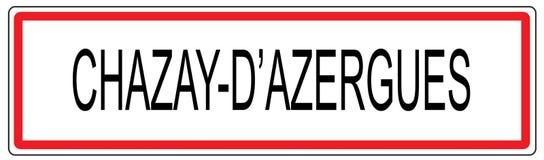 Chazay-d'Azergues Stadt-Verkehrszeichenillustration in Frankreich Lizenzfreie Stockbilder
