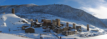 Chazhashi Panorama, Ushguli, Georgia Stockfotos