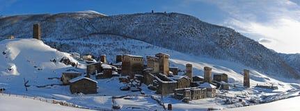 Chazhashi Panorama, Ushguli, Georgia stockfotos