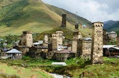 Chazhashi village with fortified medieval towers,part of highest European settlement Ushguli,Svaneti, Georgia, Caucasus, unesco h. Eritage site stock images