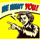 Chce ciebie! Retro bizneswoman wskazuje palec, zatrudniamy szyldową komiksu stylu ilustrację royalty ilustracja
