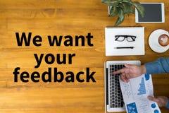Chcemy twój informacje zwrotne Obrazy Stock