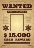 chcesz plakat Stary zakłopotany zachodni kryminalny wektorowy szablon Nieżywy lub żywy chcieć tło ilustracja wektor