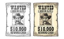 Chcieć plakat z mężczyzna w kapeluszu Rocznika rytownictwo ilustracja wektor