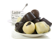 Chcolate assorti. Different kind of chocolate isolated on a white background Stock Images