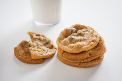 Chcolate Chip Cookies. Chocolate Chip cookies with milk on a white backgound Stock Photos