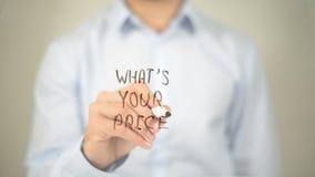 Che cosa è il vostro prezzo, scrittura dell'uomo sullo schermo trasparente Fotografia Stock Libera da Diritti