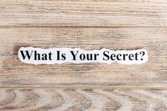 Che cosa è il vostro testo segreto su carta Parola che cosa è il vostro segreto su carta lacerata Immagine di concetto Fotografia Stock Libera da Diritti